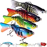 7 Pcs Fishing Lures with a Tackle Box, Lifelike Fishing Lures Bass Lures Set, for Multi Jointed Swim Baits Slow Sinking Hard Lure Fishing Tackle Kits (Shape1)…