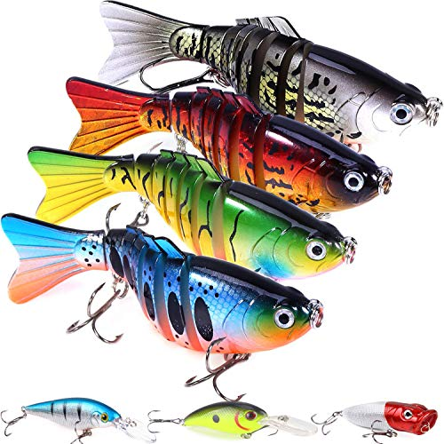 7 Pcs Fishing Lures with a Tackle Box, Lifelike Fishing Lures Bass Lures Set, for Multi Jointed Swim Baits Slow Sinking Hard Lure Fishing Tackle Kits (Shape1)