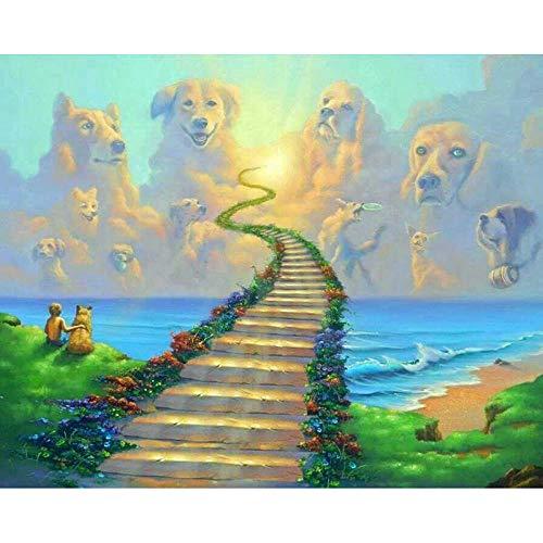 RYQRP 5D Diamond Painting hond ladder DIY diamant schilderij schilderen op cijfers borduurwerk schilderij kruissteek decoratie kunst handwerk voor volwassenen 30cmx40cm