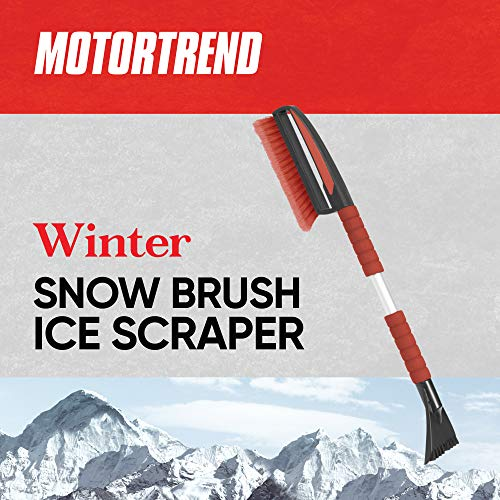 Motor Trend Winter Car Snow Brush/Broom with Soft Ergonomic Foam Grip - Ice Scraper/Frost Remover for Car Windshields, Roofs, Windows, and Mirrors
