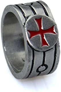 Gungneer Iron Cross Ring Knights Templar Red Cross Stainless Steel Jewelry for Men Women