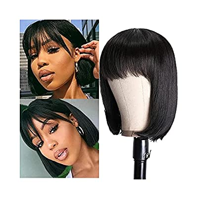 Short Bob Wig Human Hair Wigs With Bangs For Black Women Straight Human Hair None Lace Wigs Brazilian Remy Full Machine Made Wigs 130% Density Glueless Natural color