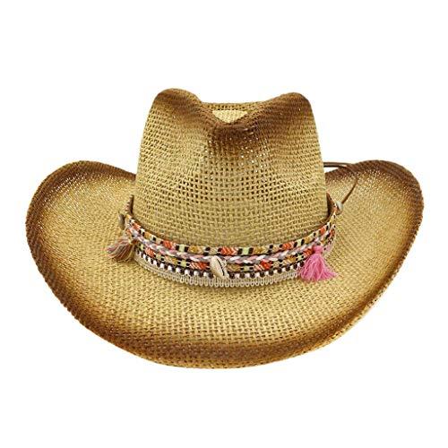 Qiamay Unisex Stroh Cowboy Hut für Damen und Herrem Western Outdoor Hat(Khaki,One Size)
