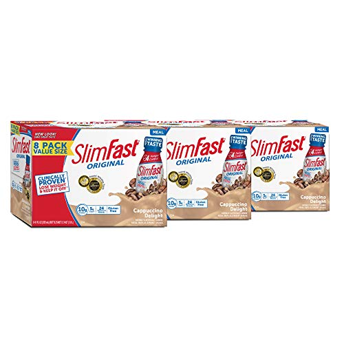 SlimFast Original Cappuccino Delight Shake – Ready to Drink Weight Loss Meal Replacement – 10g of protein – 11 fl. oz. Bottle – 8 Count (Pack Of 3) – Packaging May Vary