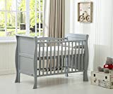 Solid Wooden Cot Bed Savannah Sleigh Toddler Bed with Premier Water Repellent Mattress - Made in England (Grey)
