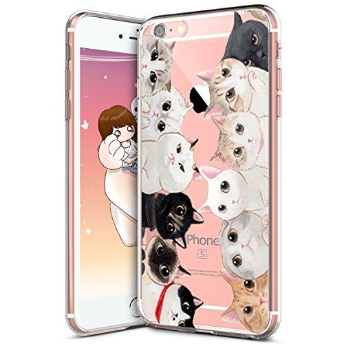 KunyFond Silicone TPU Coque Dessin Animé Créatif Chat Motif Choc Scratch Caoutchouc Clair Gel Housse Étui Transparent Souple Mince Hybride Etui Bumper Couverture Compatible iPhone 6 Plus/6S Plus 5.5\