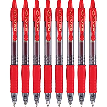 PILOT G2 Premium Refillable & Retractable Rolling Ball Gel Pens Bold Point Red 8-Pack  15322