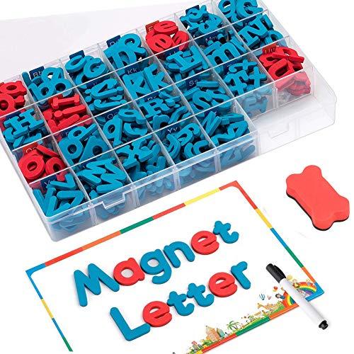FUQUN Kit di Lettere Magnetiche (212 Pezzi) con Lavagna Magnetica e Scatola di Immagazzinaggio Schiuma Alphabet ABC Magneti per Il Frigorifero Giocattoli Educativi per Bambini