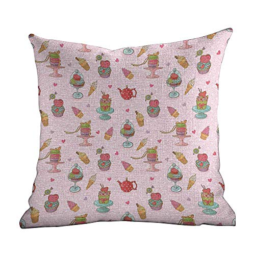 Matt Flowe Elegant Comfort Pillow Cases。Ice Cream Decor,Retro Cupcakes Teapots Candies Cookies on Polka Dots Vintage Kitchen Print,Multicolor,Decorative Square Accent Pillow Case14 x14
