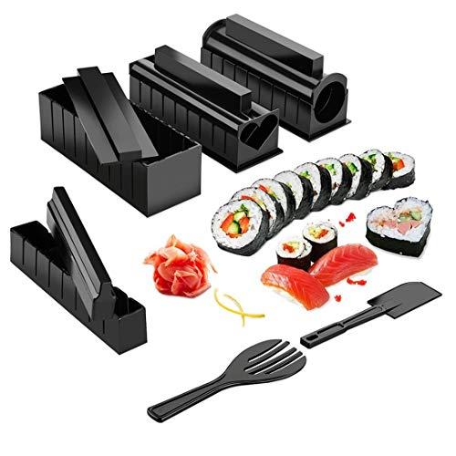 Juego de 10 piezas para hacer sushi DIY Kit de hacer rollo de sushi para hacer rollo de arroz, molde de cocina, herramientas de sushi japonés, herramientas de cocina