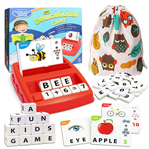 Matching Letter Game Learning Toys Gifts for Kids, Educational Toys for 3+ Year Old Boys Girls, Sight Word Flash Cards for Kindergarten Homeschool, Spelling Learning Games Activities for Toddlers