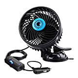 Car Fan, 6'' Negative Lons 12V Cooling air Fan,Tvird Electric Car Fan with Powerful Adjustable Speed, 360 Degree Rotatable Windshield and Suction Cup Air Circulator for SUV RV Boat Auto Vehicles Golf