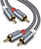 JSAUX RCA Stereo Cable, [6.6ft/2M, Dual Shielded Gold-Plated] 2RCA Male to 2RCA Male Stereo Audio Cable for Home Theater, HDTV, Amplifiers, Hi-Fi Systems [Grey]