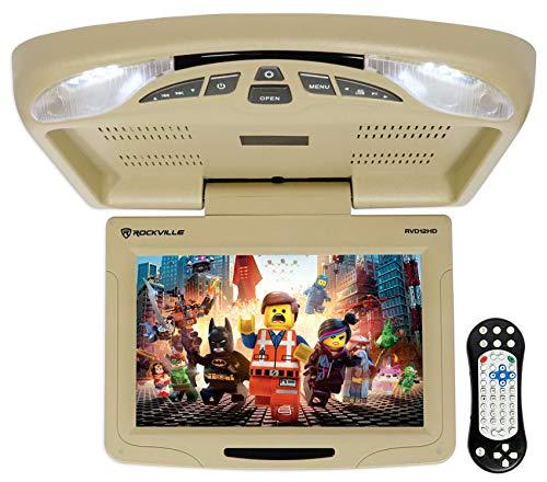 Rockville RVD12HD-BG 12' Beige Flip Down Car Monitor DVD/USB/SD Player + Games (RVD12HD-BG v2)