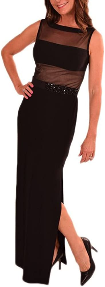 Joseph Ribkoff 153160 Black Beaded Belt Maxi Dress