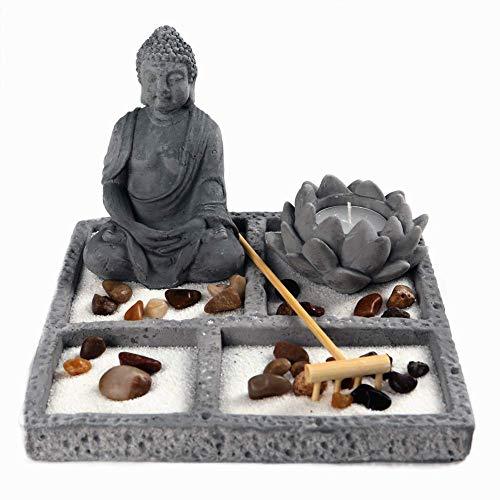 OM HOME Jardin Zen Figurine Bouddha sur Plateau carrée, avec Bougeoir, FLEUR DE LOTUS et de sable blanc, décoration pierres décoratives, râteau
