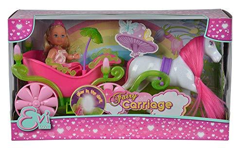 Simba 105735754 - Evi Love Fairy Carriage / märchenhafte Kutsche / mit Glow in the Dark Laternen / Evi Puppe als Prinzessin / Ankleidepuppe/ 12cm, für Kinder ab 3 Jahren