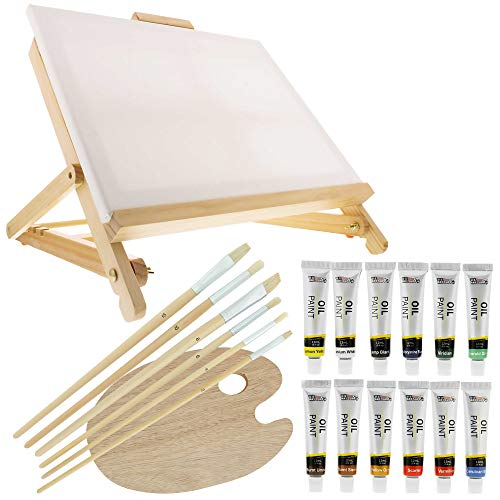 US Art Supply 21-Piece Oil Painting Set with Table Easel by US Art Supply