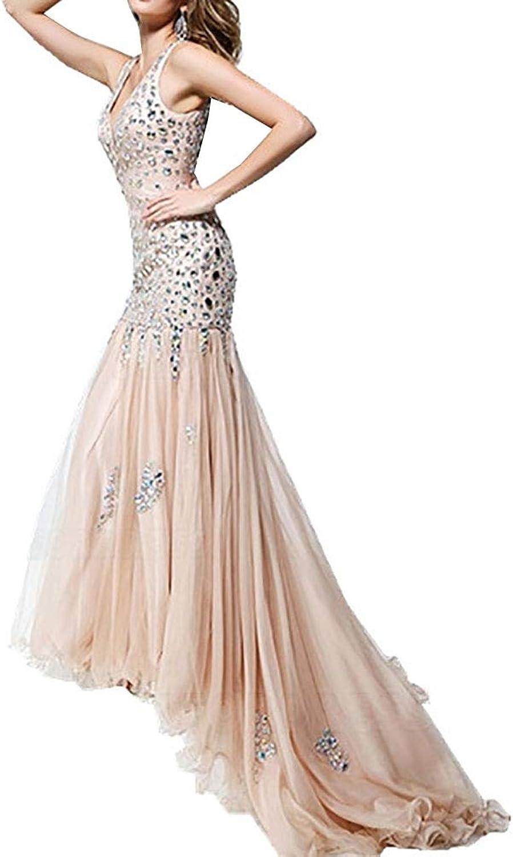 CG Trumpet Mermaid VNeck Sweep Brush Train Prom Dress with Crystal Detailing J943ED48