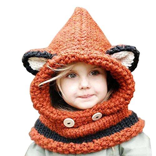 DAYAN Wolle Winter Strick Fox Kappen-Baby-Tücher Kapuzen Cowl Beanie Caps Bestes Weihnachts-Geschenk für Kinder Farbe Orange