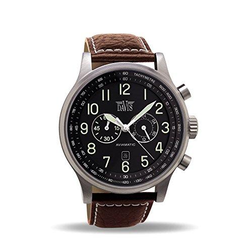 Davis –0451- Orologio Uomo Aviatore 48 mm - Cronografo Stagno 50 M -...