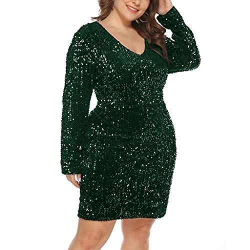 iYmitz Paillettenkleid Damen Sexy Plus Size Pailletten V-Ausschnitt Langarm Strecken Bodycon Party Skinny Minikleid Cocktailkleid Abendkleid Übergröße Ballkleid Clubwear Rockabilly Kleid(Größe XL-5XL)