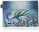 Anna by Anuschka womens Case   Genuine Leather, Hand-painted Original Art Credit Card Holder, Midnight Peacock Grey, One Size US