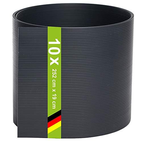 TerraUno - Premium Hart PVC Sichtschutzstreifen für Doppelstabmatten - 10 Stück für Gartenzaun I 2,525mx19cm I Anthrazit I Made in Germany