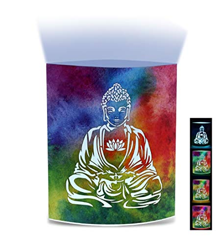 CoTa Global Color Changing LED Light Lantern Peace Buddha Art Design Home Garden Décor 6.5 Inch Handcrafted Lamp Accent Bedroom Living Room Indoor Outdoor Portable Lanterns Party Lights Decoration