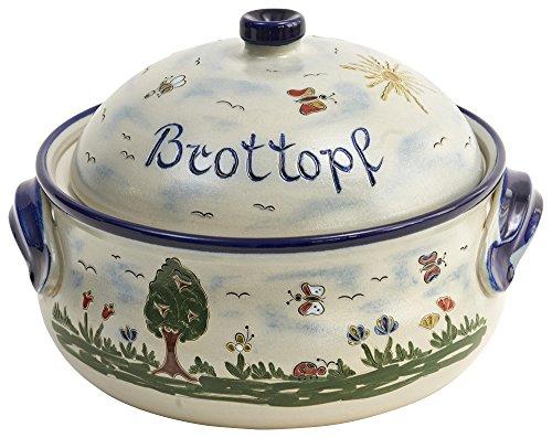 vivApollo Brottopf Brotkasten Brotkorb Original westerwälder Kannenbäckerland salzglasierte Steinzeug Keramik (MM Form Idas Garten)