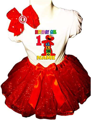 Elmo Birthday Party Dress 1st Birthday Red Tutu Outfit Shirt