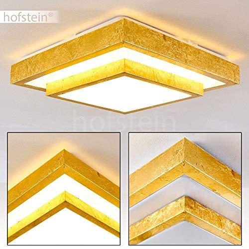 LED Deckenleuchte Sora, eckige Deckenlampe aus Metall in moderner Gold-Optik, 18 Watt, 1380 Lumen, Lichtfarbe 3000 Kelvin (warmweiß), IP 44, auch für das Badezimmer geeignet