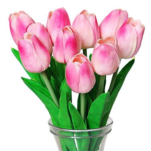 Turelifes - tulipani artificiali a stelo singolo, sembrano veri al tatto, in poliuretano, bouquet di tulipani per la decorazione della casa, 10 pezzi rosa