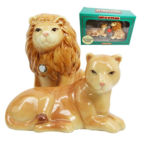 Gifts & Decors Safari Pride Lion and Lioness Salt Pepper Shaker Magnetic Set Figurines