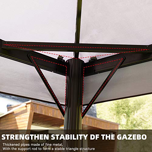 Grand patio 10x13 Feet Patio Gazebo, Outdoor Canopy with Mosquito Netting and Shade Curtains,Sturdy Straight Leg Tent for Backyard