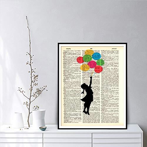 Geiqianjiumai Meisjeswoordenboek-kunst-muurkunst met frameloze schilderij van de ballonwand-kinderkamerzeildoek