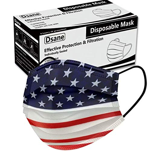 50PCS Disposable Face Mask ,Fashion American Flag Printed Dust Masks ,Fancy Cute Breathable Face Masks ,Safety Facial Mouth Covers for Adult Unisex