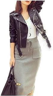 Howely Women's Biker Moto Short Slim Classic Lapel Zipper Jacket Coat