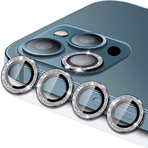 WSKEN Compatible con iPhone 12 Pro Max Camera, [4 unidades de protección de cámara] Aleación de aluminio HD, protección de cámara, lente de protección 9H Dureza – Diamantes