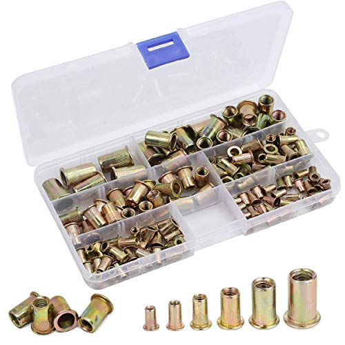 Fiyuer 200 Piezas Remaches Tuerca Threaded Insert Inox Roscado Acero Inoxidable Nutsert Rivet Nut,Por Embotamiento Surtido Kit M3,M4,M5,M6,M8,M10 Packaged by Plastic Case