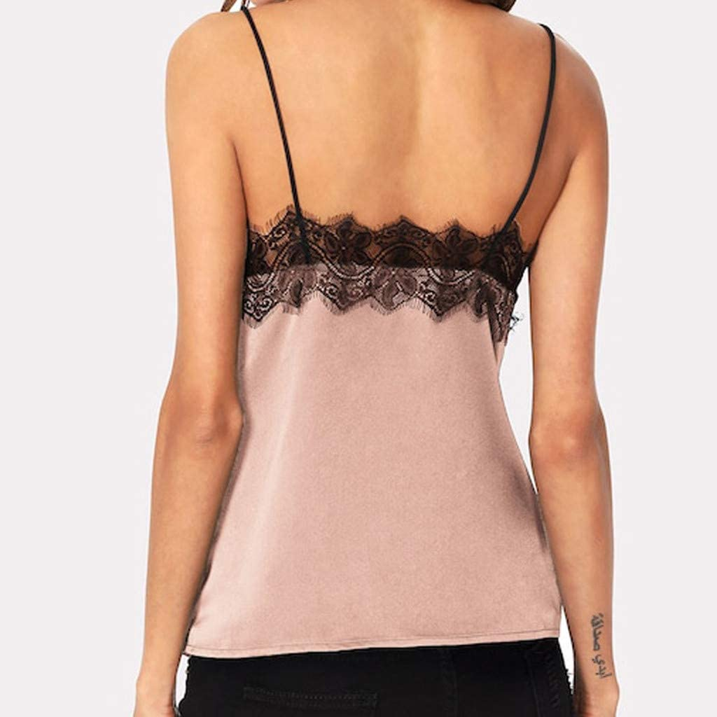 JUTOO Dawomen Spitze Weste Fashion Camisole Ärmelloses T-Shirt X-rosa