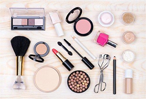 Laeacco Make Up Theme Backdrop 5x3' Vinyl Photography Background Cosmetics Tools Nail Polish Blush Brush Foundation Lip Stick Liner Eye Shadow Mascara Lash Curler Brow Pencil Girl Make Up Vlogger Live