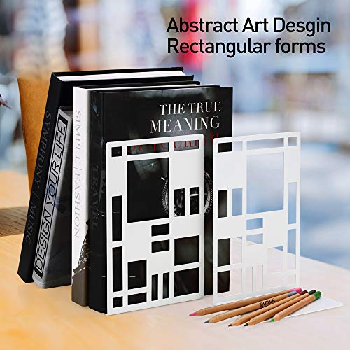 Book Ends, Bookends, Book Ends for Shelves, Bookends for Heavy Books, Book Divider Decorative Holder, Metal Heavy Duty Bookend White 1 Pair, Abstract Art Desgin Book Stopper Supports for Office, Home Photo #8
