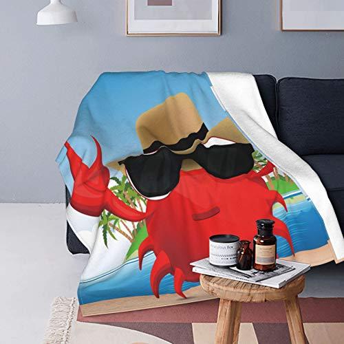 Felpa Manta de Tiro Suave Ligero,Crustáceo Fresco con Gafas de Sol Negras y un Sombrero de Vacaciones de Verano en una Isla Tropical,Manta de Cama Edredón de Viaje para Sofá Cama,60' X 80'