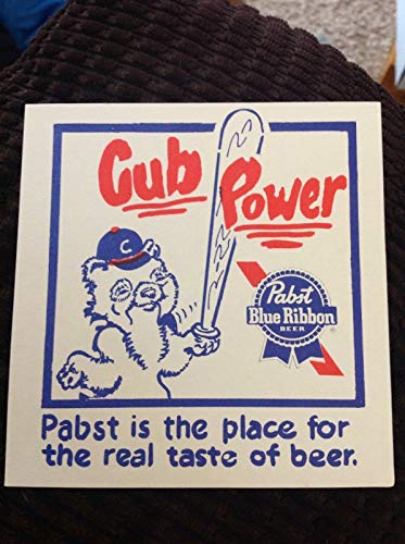 Chicago Cubs & Pabst Blue Ribbon Beer ~ Cub Power Paper Coaster Sign