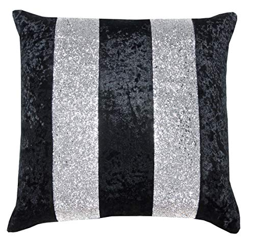 Red Rainbow Crushed Velvet & Silver Glitter Stripes Sparkle Cushion Cover (Black & Silver, 18' x 18')
