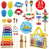 Bukm Kids Musical Instruments, Musical Toys for Toddlers, 25 Pcs Wooden Musical Percussion Instruments, Preschool Educational Learning Tambourine Xylophone Toys for Toddlers Kids Children with Storage