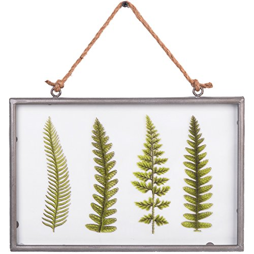 NIKKY HOME 8' x 12' Vintage Metal Framed Fern Botanical Glass Wall Art Print with Rope