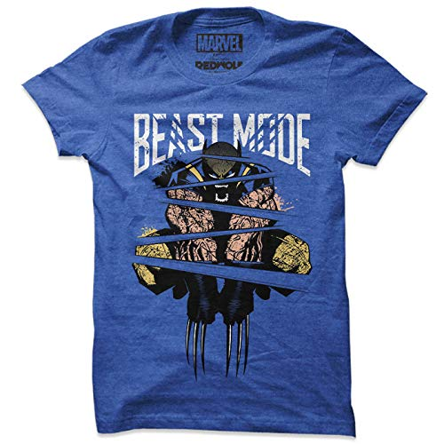 Redwolf Marvel Beast Mode Officially Licensed Half Sleeve Cotton T-Shirt (Blue ;...