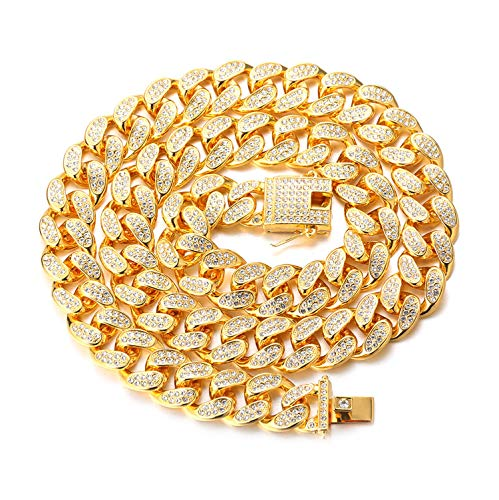 Halukakah Cadena de Oro Diamante para Hombre,20MM Chapado en Oro Real 18k/Platino con Acabado en Oro Blanco Diamante Cadena de Cubano Collar Gargantilla Pulsera,con CAJA de Regalo